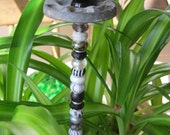 Beaded  Garden Plant Stake in Shades of Black, Gray and White