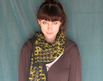 Screen Printed Jersey Scarf in Athletic Black with Golden Yellow Circles