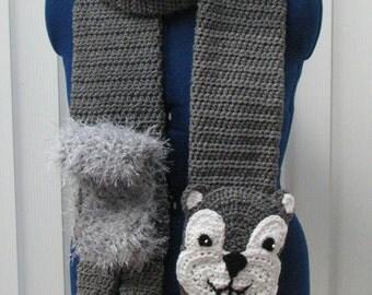 Crochet Pattern - Squirrel Scarf Crochet Pattern- Scarf Pattern - Squirrel Pattern - Animal Scarf Pattern - Crochet Scarf - Digital Download