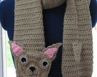 Crochet Pattern - Chihuahua Scarf Pattern - Dog Theme Gifts - Men's Scarf - Women's Scarf - Animal Scarf - Chihuahua Pattern - Crochet Scarf