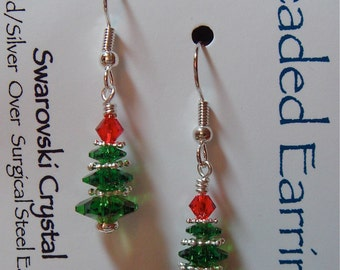 Fern Green Swarovski Christmas Tree Earrings  with Light Siam