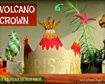 PDF: Volcano Crown Template and Tutorial - Digital File DIY Printable - Dinosaur Party