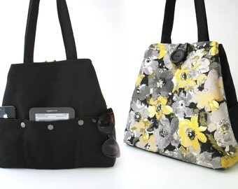 womens handbag, black bag, floral  tote bag,  floral tote bag ,diaper bag, shoulder bag, day bag, travel bag