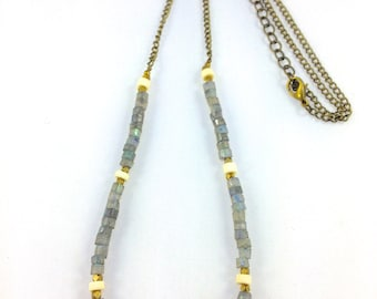 Labradorite & Bone Bead Necklace with Faceted Brass Alloy Beads