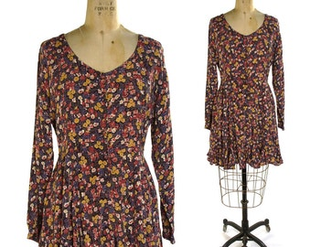 90s Grunge Babydoll Dress / Vintage 1990s Rayon Floral Print Dress / Contempo Casuals Bohemian / Boho / Hipster Fit & Flare Button Up Dress