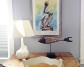 Watercolor Painting Bird | wildlife art | pelican for coastal or nautical decor