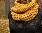 Golden Mustard Yellow Cowl Scarf Neckwarmer Autumn Accessories