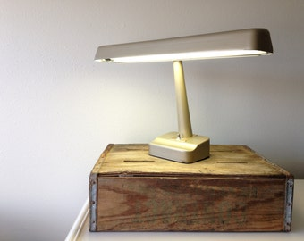 vintage Industrial Desk Lamp / vintage industrial lighting / Flourescent / taupe Metal / Utilitarian Retro Office Light