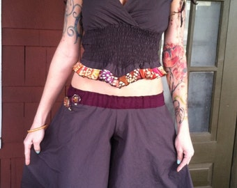 Up-Cycled Flow Pants and Matching Patchwork Top,Skirted Pants,Pixie Clothing,Festival Clothing,Gypsy Clothing,Flared Pants, Hoop pants, Eco