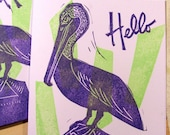 Hello Pelican tropical purple and green hand printed linocut card with envelope blank inside