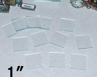 100 Pack - 1 Inch Squares - Clear Memory Pendant Glass for Collage Altered Art Soldered Jewelry (( 1 x 1 inch glass ))