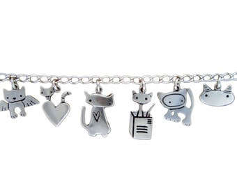 Cat Charm Bracelet - Sterling Silver Cat Bracelet with 6 Cat Charms
