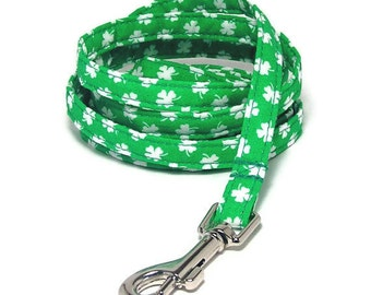 """XS Leash - Lucky Clover - 3/8"""" wide 4 or 6 Feet Long for Cats and Small Dogs"""