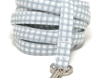 """XS Leash - Soft Blue Gingham - 3/8"""" wide - 4 or 6 Feet long for Cats and Small Dogs"""
