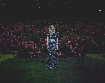 FINAL SALE 50% off End of Year CLEARANCE  Dark Floral Garden Dress Orcas Island