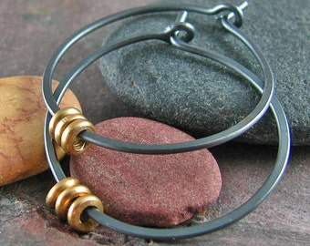 Minimalist Mixed Metal Oxidized Sterling Silver Hoop Earrings Black Hoops Raw Brass Beaded 1 Inch Small Hoops Lightweight Recycled Metal