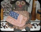 "Extreme Primitive 13"" ""Americana Annabelle"" Black Doll with Flag EPATTERN pattern"