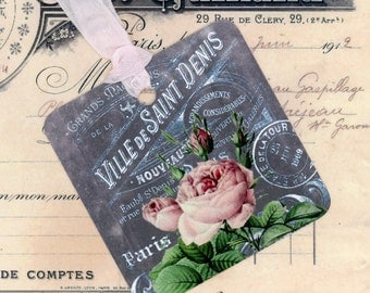 Chalkboard Type Gift Tags , French Tags , Vintage French , Rose Tags , French Chalkboard Tags
