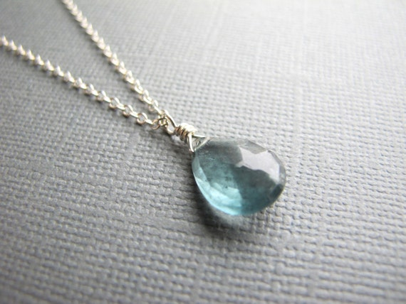 Moss Aquamarine Necklace on Sterling Silver Chain, March Birthstone