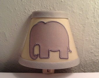 Appliqué Elephant Night Light Neutral Gray and Beige