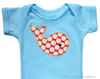 Baby Boys Whale Applique Bodysuit - Spotty Red Whale on Baby Blue - 3 to 6, 6 to 12, 12 to 18 Months - SHORT SLEEVES