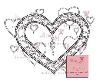 Digital stamp - Villemoart - HEARTS001 - Digital art for handmade craft personal and commercial use
