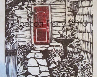Chris and Ellen's Garden - hand pulled block print - red door