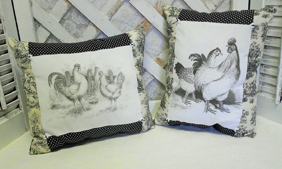 Pair of French Country Farmhouse Black Toile Rooster and Chicken Pillows, Handmade Pillows, Country Decor