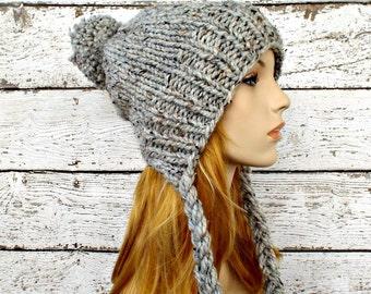Grey Slouchy Hat Grey Womens Hat Grey Ear Flap Hat Grey Slouchy Beanie - Charlotte Slouchy Knit Hat - Grey Hat Womens Accessories Winter Hat