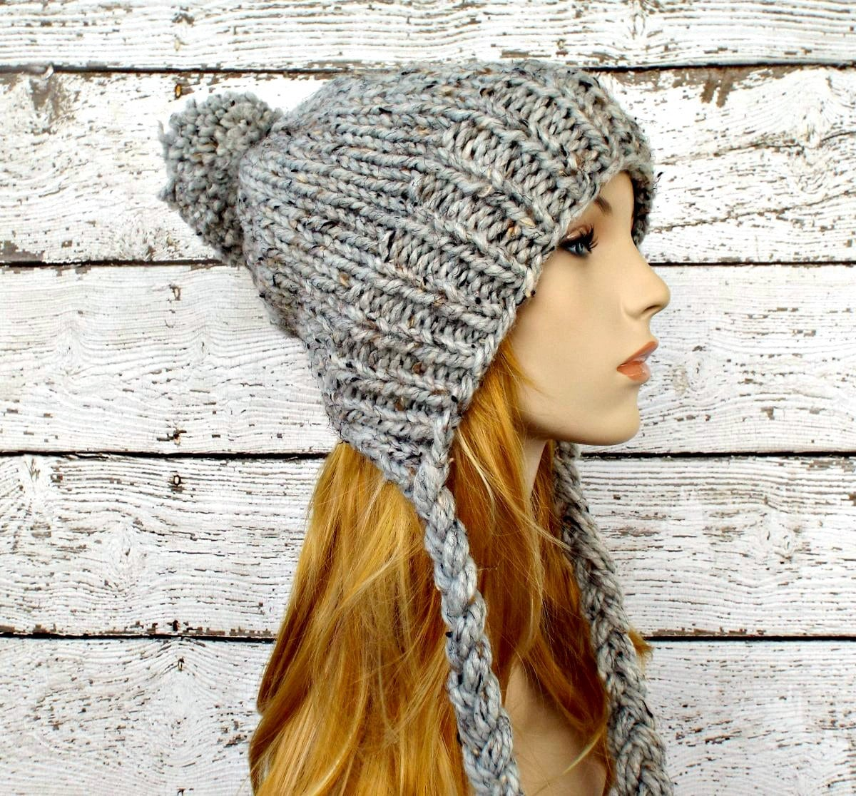 Knitted Hat Patterns With Ear Flaps : Grey Slouchy Hat Grey Womens Hat Grey Ear Flap Hat Grey