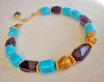 Turquoise Amethyst Bracelet Gold Vermeil Bracelet Layering Bracelet