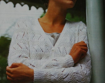 Cardigan Knitting Pattern Beehive Patons B 7840 Lace Sweater Women Sizes 32 - 40 Inches 81 - 102 cm Vintage Paper Original NOT a PDF