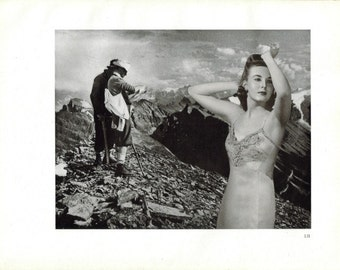 Mountain Landscape, Original Art, Recycled Book Page Artwork, Black and White Art, Retro Woman, Surreal Art Collage, Unique Wall Art