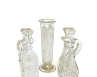 Lot Of Three Pressed Glass Cruets & Vase