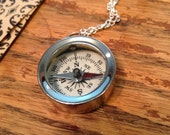 Small Working Silver Compass, Compass Necklace, Silver Compass, Working Compass, Small Compass, Small Silver Compass, Compass Gift