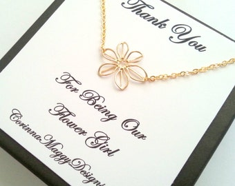 Flower Girl Gift / Flower Necklace / Silver or Gold Sunflower Necklace / Little Girl Jewelry / Flower Girls Jewelry / Wedding Party Gift