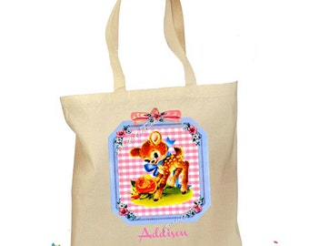 Personalized Tote Bag - Custom Tote Bag - Baby Deer Tote - Canvas Cotton Tote Baby Deer Bag