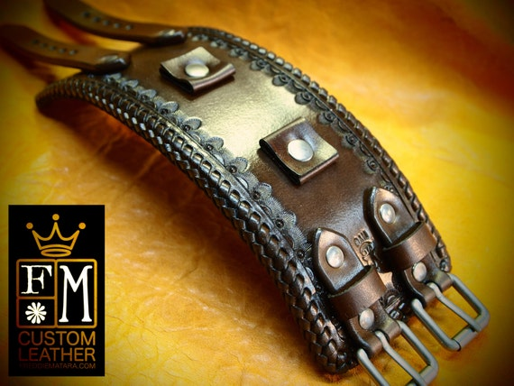Leather cuff watch band - Vintage style, western stamped Rich Brown watchband -  Best quality Made for YOU in NYC by Freddie Matara