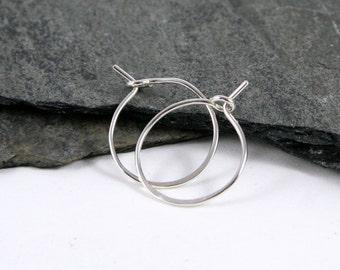 Sterling Silver Sleeper Hoop Earrings in Small - every day earrings