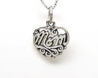 Sterling Silver Mom Mother Small Heart Charm Customize no. 2188
