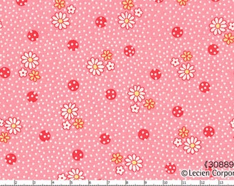 Sale (30) HALF YARD Lecien - Old New 30s Spring 2014 Collection - 30889-20 Pink, White and Yellow Flowers and Dots on Pink - Japanese