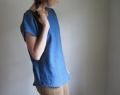Blue Linen Tunic Top, Women's Blouse, Linen Tee Shirt, Denim Indigo Blue, Made to Order