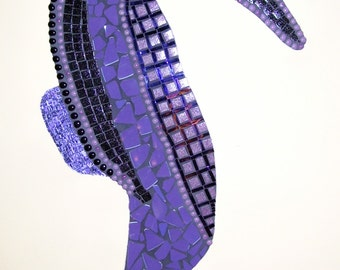 Seahorse mosaic large purple glass