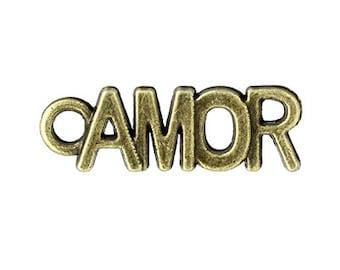 10 Amor Charms bronze brass tone metal love charm (S249)
