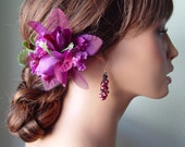 Green and Purple Silk and Organza Double Rose Bloom Flower Hair Accessory
