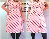SALE - BlockParty Dress - plus size 20 / size 22, handmade in red cube print vintage knit fabric, coral red full lining -- 50B-40W-52H