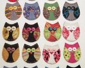 Owl Applique, Owl Patch, Fabric Owl, Scrappy Owl, Owl Embellishment, Scrap Fabric Owl, Scrapbook Owl, Owl, Custom Made for You