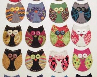 Owl Applique, Owl Patch, Patch Chouette,Fabric Owl,Scrappy Owl, Owl Embellishment, Scrap Fabric Owl, Scrapbook Owl, Owl, Custom Made for You