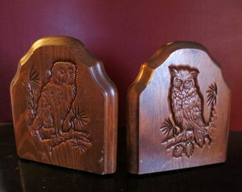 Vintage 1970's Owl Bookends Carved Wood Wiccan Gothic
