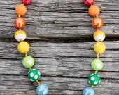 SIMPLE.beads Rainbow, light stripe bubble gum bead necklace